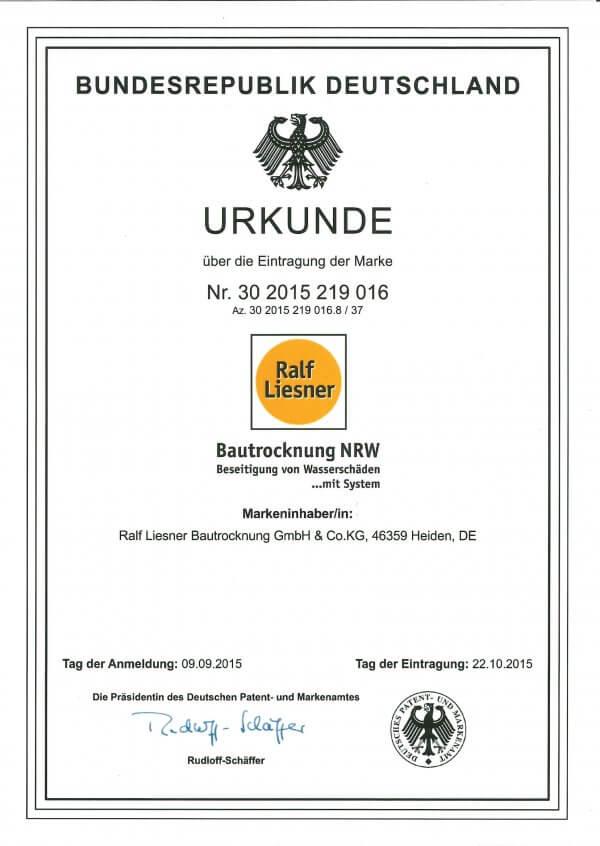 Offizielle Ankündigung – Bautrocknung NRW als Marke eingetragen