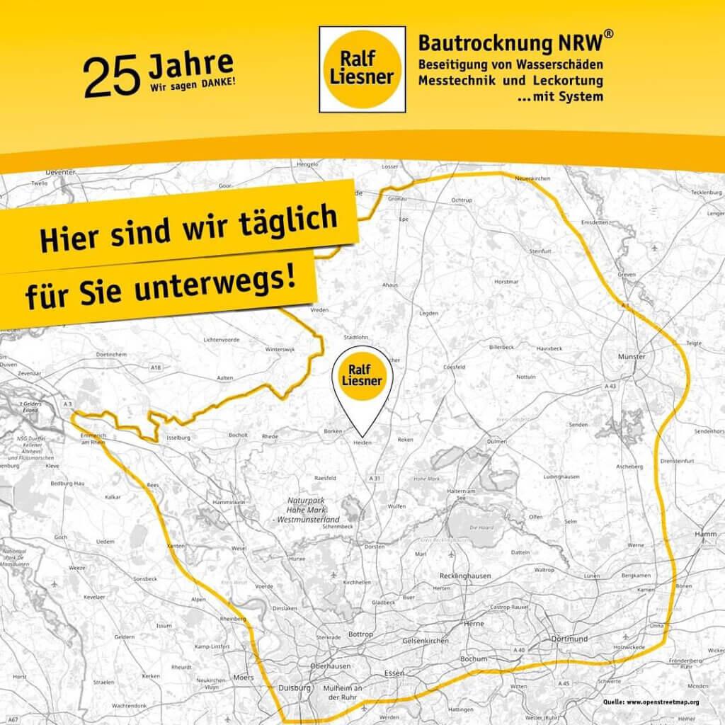 Einzugsgebiet Liesner Bautrocknung NRW